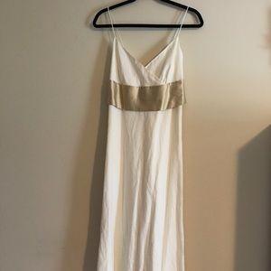 Cream Linen Full Length Dress w/ Silk Gold Sash